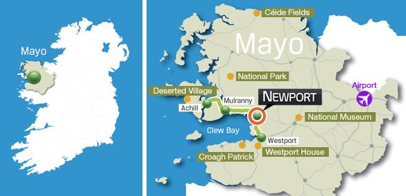 Map Of Ireland Beaches.Newport Mayo Area